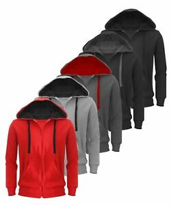 New-Plain-Mens-Hoodie-American-Fleece-Zip-Up-Jacket-Sweatshirt-Hooded-Top-XS-XXL