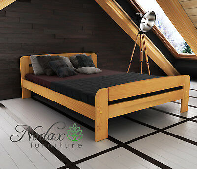 """*NODAX* Solid Wooden Pine Double 4ft6in Bedframe/&Slats /""""One/"""" Various Colour"""