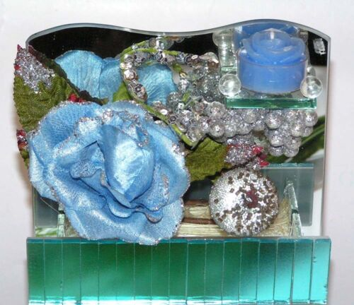 EDEL Spiegel Glasdeko mit Blumen+Teelicht Blau//Silber 17x15 cm Preishit x 5074