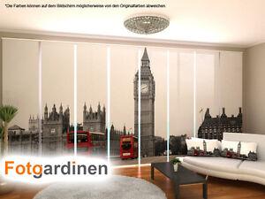 Details zu Fotogardinen London, Flächenvorhang Schiebegardinen mit Motiv,  auf Maß