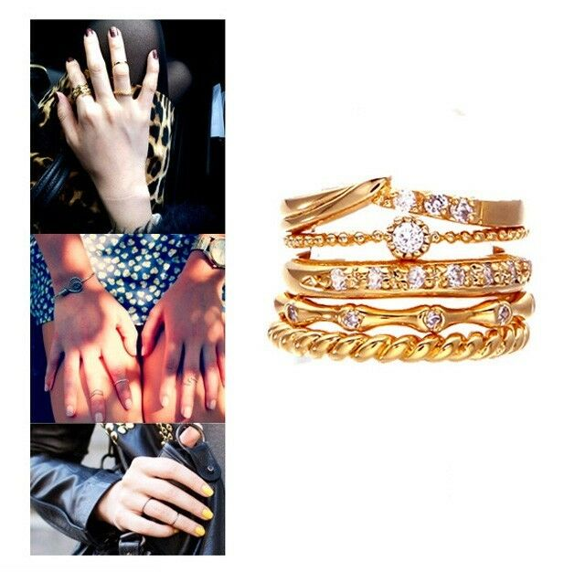5 pcs/Set  Articular Ring Gold Color Design Simple Band Mid Finger Rings Gift e
