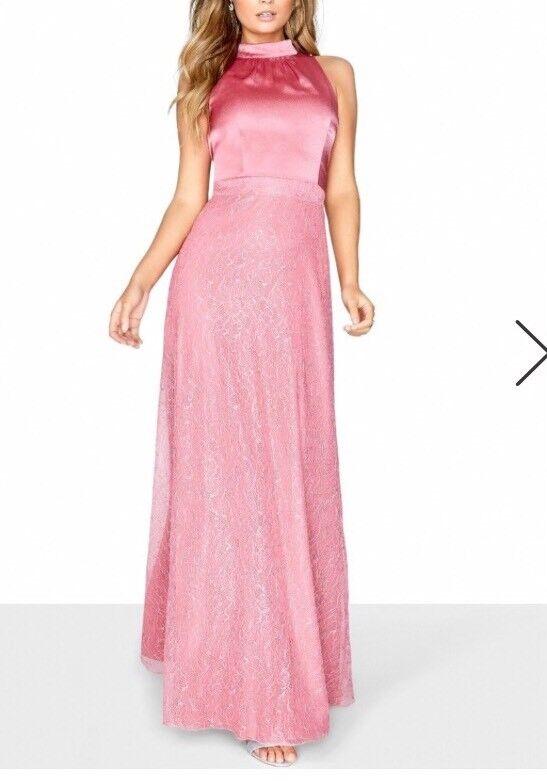 Little Mistress Rosa Satin High Neck Maxi Dress GrößeUK12 RRP Box51