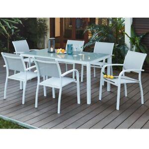 Set Da Giardino Miami Bianco Salotto Da Esterno 6 Sedie Tavolo Ebay