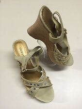 """GUESS GOLD ANKLE STRAP 4"""" WEDGE HEELS W/ SEQUINS SHOE SIZE 8.5 NWOB"""