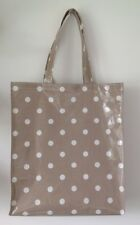 Tote shopping bag/ book bag Handmade In Taupe Spotty Oilcloth