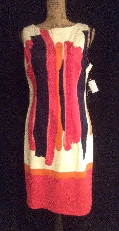 Chetta B Paint Streak Scuba Fitted Sheath Dress Pink Multi White NWT Sz 10