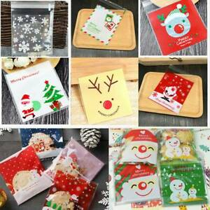 Christmas Cellophane Bags.Details About 100 Christmas Cellophane Bags Party Cello Cookie Sweet Candy Biscuit Gift Bag Uk
