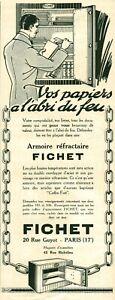 Publicité ancienne coffre fort Fichet 1925 issue de magazine