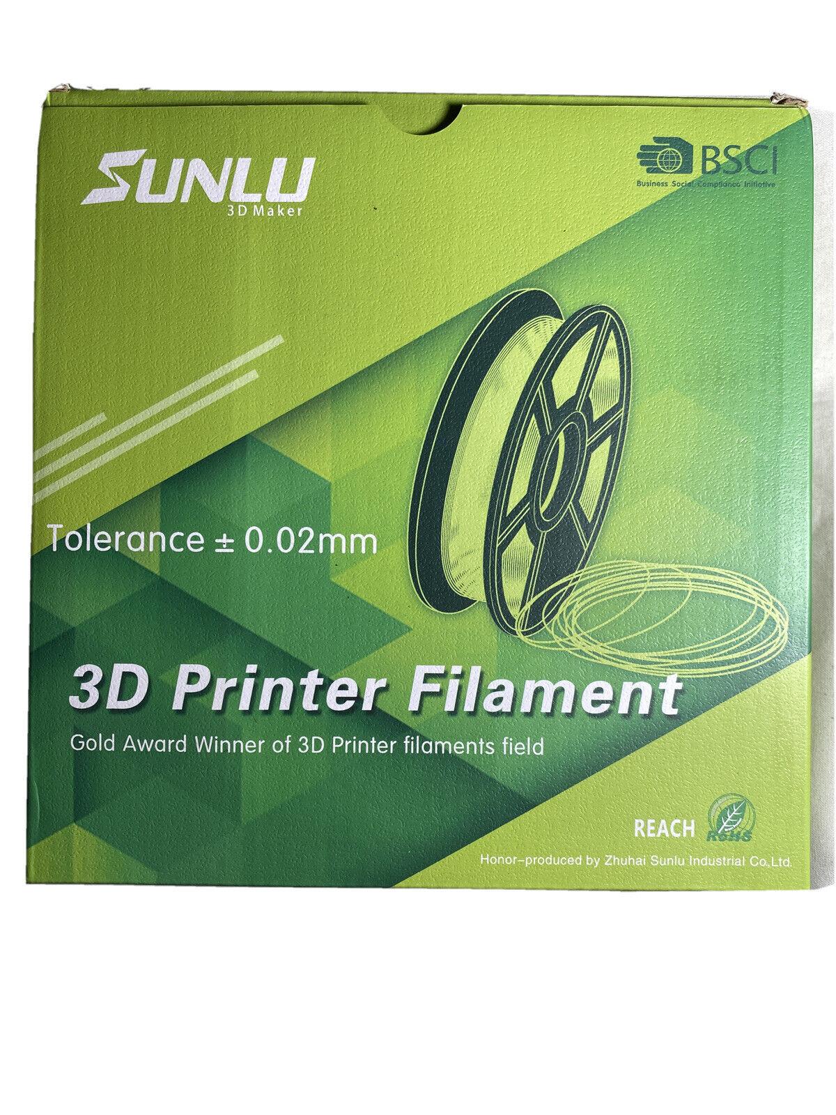 SUNLU PLA White Filament 1.75mm 3D Printer Filament, 1KG 2.2 LBS Open Box