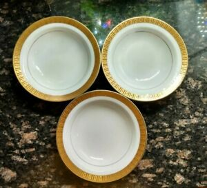 Vintage Japan Sango china CORSICAN Set Of 3 Dessert Bowls White & GOLD EUC Rare