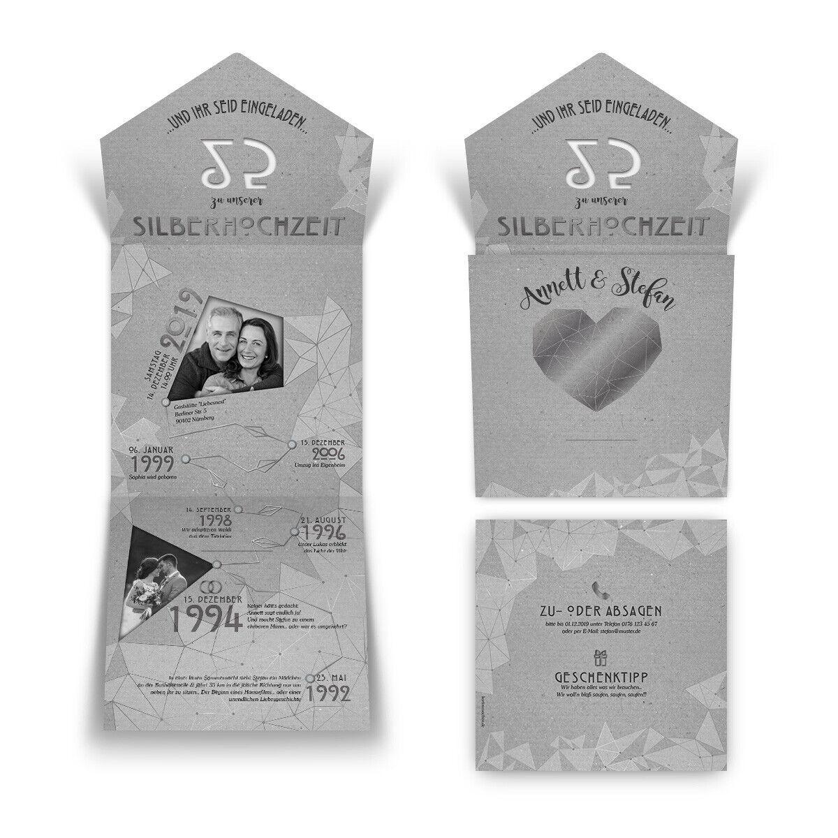 Lasergeschnittene silberne Hochzeit Einladungskarten - gemeinsame Erinnerungen