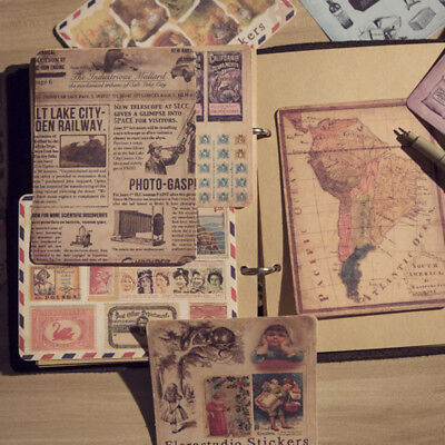 10 pcs Vintage Style Paper Stickers DIY Scrapbooking .Album Diary Craft.