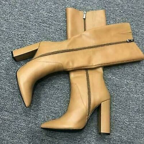 Details about  /New Womens Boots Knee High Boots Block High Heels Winter Full Zipper Party Shoes