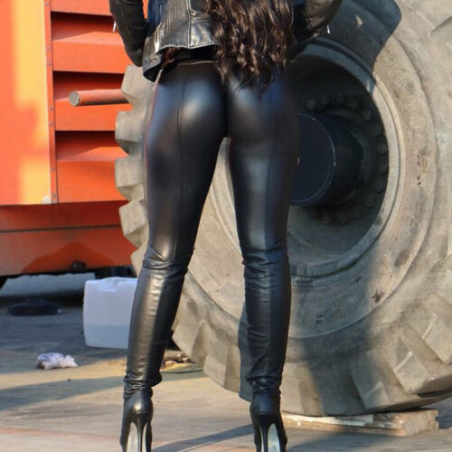 Women Wet Look Stretchy Leather Pants Skinny High Waist Leggings Push Up Pencil