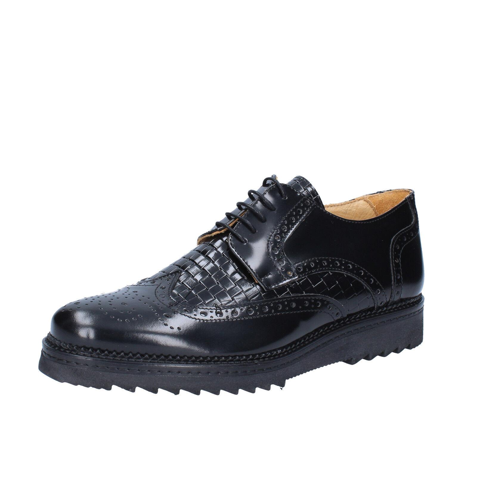 Mens shoes SALVO BARONE 10 ( EU 44 ) elegant black shiny leather  BZ147-F