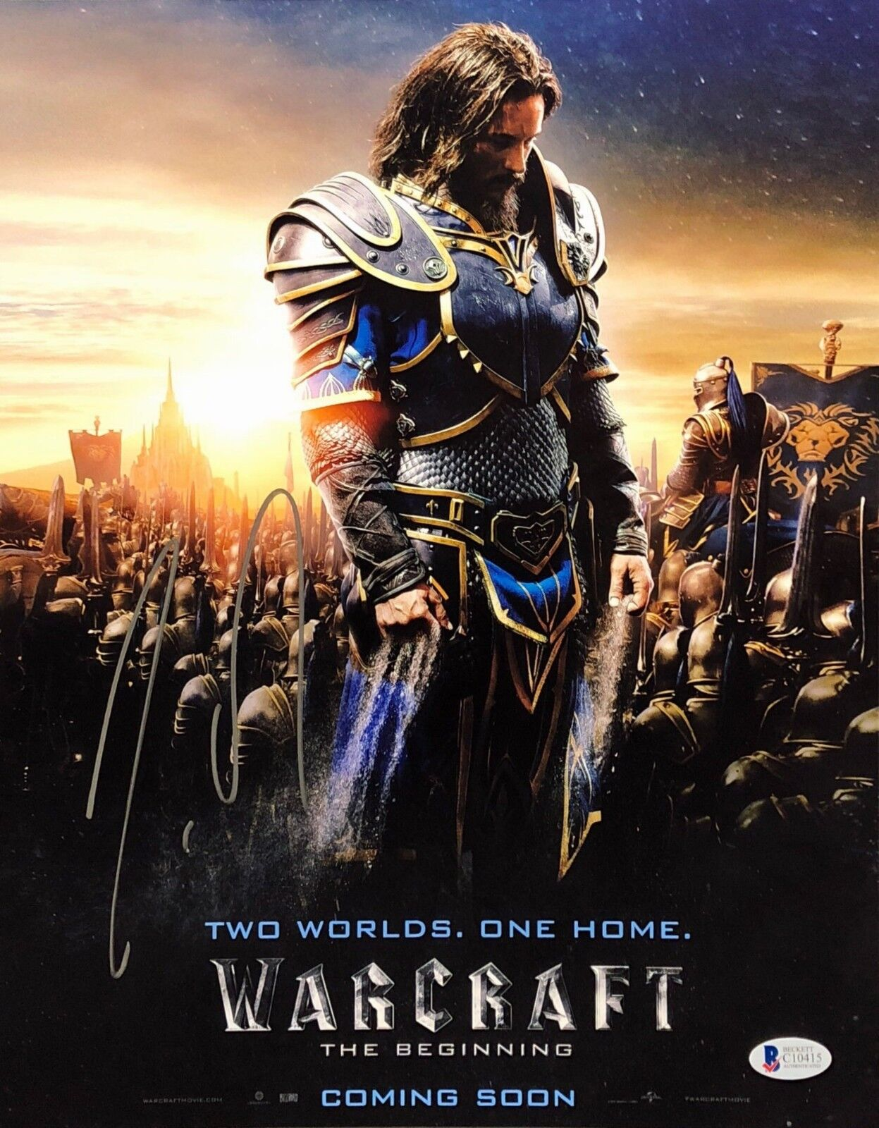 Travis Fimmel Signed Warcraft 'Two Worlds. One Home' 11x14 Photo BAS C10415
