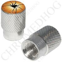 Silver - Billet Aluminum Custom Valve Caps For Motorcycle & Cars - Black Spider