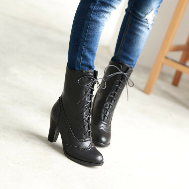 Retro Womens Riding Boots Block High Heel Breds Round Toe Lace Up Casual shoes
