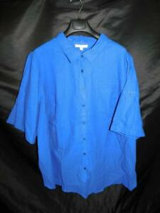 Woman-Within-3X-NEW-Blue-Shirt-3-4-to-Short-Sleeves-Roll-Tab-Cuffs-Button-Blouse