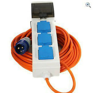 3 Way Mobile Mains Unit Campsite Power Hook Up RCD Cable Lead ...