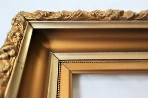 ANTIQUE-FITS-6X12-LEMON-GOLD-PICTURE-FRAME-WOOD-GESSO-ORNATE-FINE-ART-COUNTRY