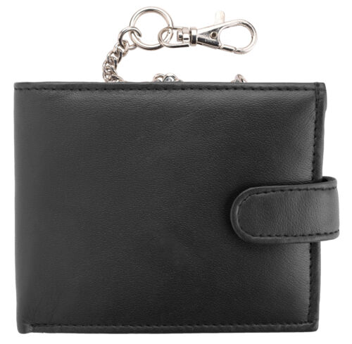 Mens Soft Genuine Nappa Leather Wallet with Safety Chain RFID Protected