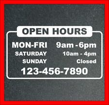 Business Open Hours Store Open Hours Decal Vinyl Sticker Window Door Sign Decals