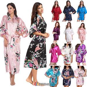 355f8d57d5 Image is loading Silk-Satin-Kimono-Robe-Dressing-Gown-Women-Wedding-