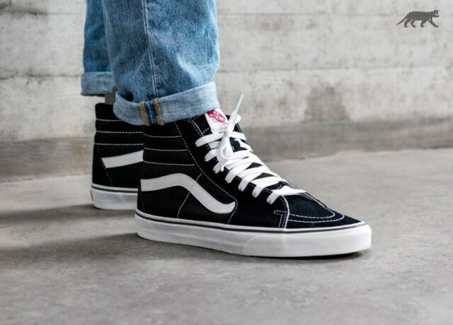 Vans Sk8 Hi Top Shoes Canvas Black White Skate Men Sneakers 0d5ib8c