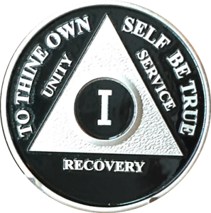 Black /& Silver Plated Four Year AA Chip Alcoholics Anonymous Medallion Coin 4