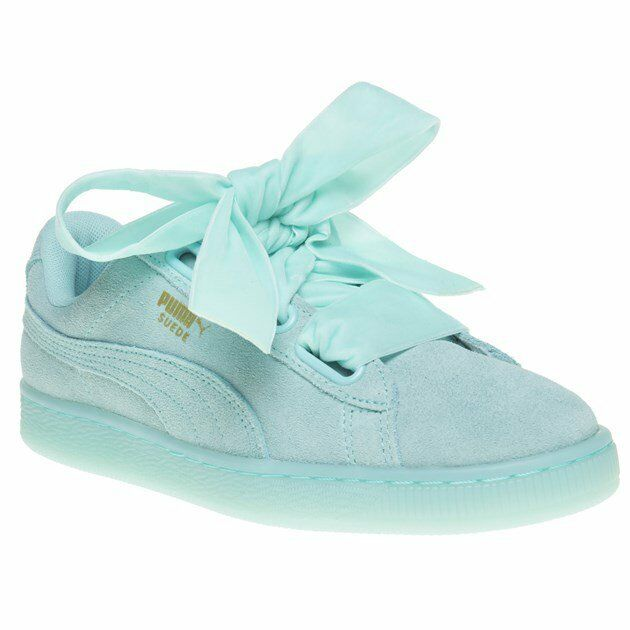 New Womens Womens Womens Puma bluee Suede Heart Reset Trainers Court Lace Up 381b63
