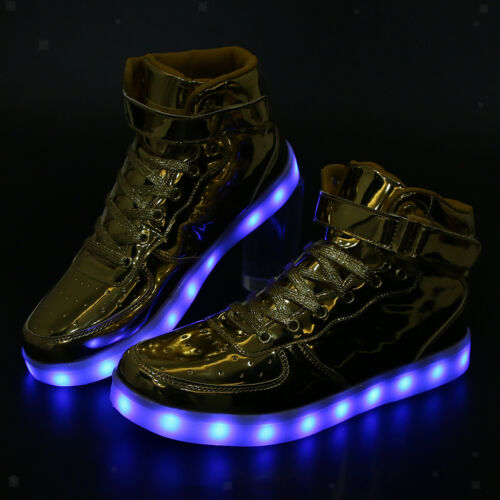 Flashing LED Light Up Sneaker High Top Trainer Luminous Shoes USB Charging