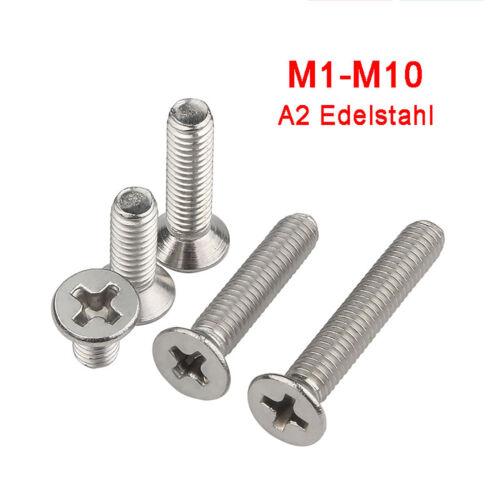 M6 M8 M10 Senkschrauben mit Kreuz Senkkopfschraube 304 A2 Edelstahl VA DIN 965