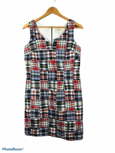 LL Bean Women's Dress Madras Plaid Patchwork Sleev