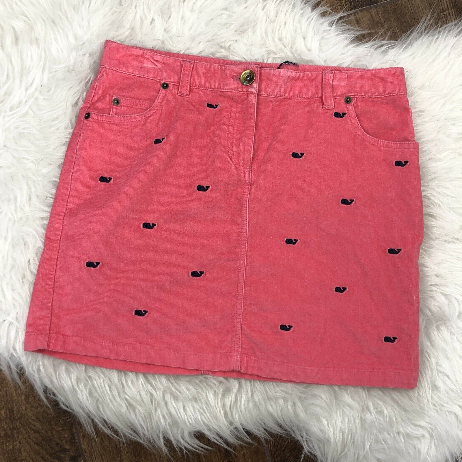 Vineyard Vines Womens Size 4 Pink Corduroy Whale Pattern Skirt