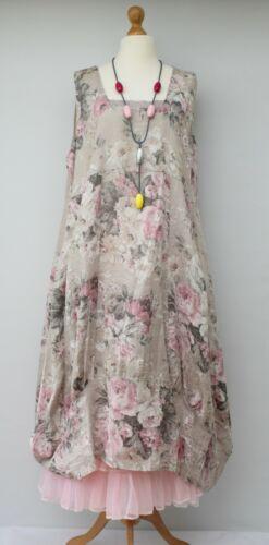 54 Lagenlook Lino xxl oversize 2 a busto beige floreale xl tasche fino vestito U4OCqU7x