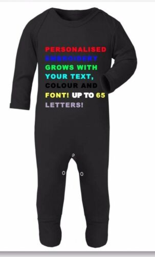 Personalized Your Text Baby Grow,Sleepsuit Birthday,Christmas Gift for Baby Boy