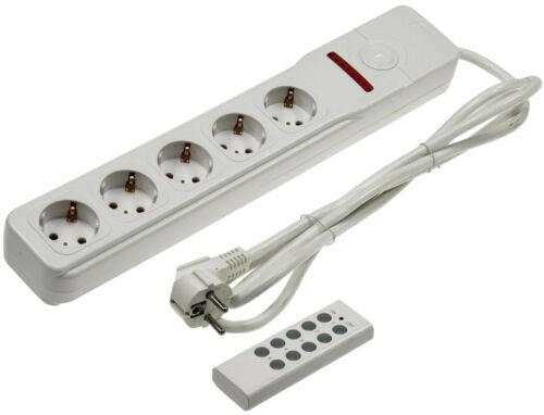 5 fois Multiprise avec RADIO Télécommande Prises Individuellement COMMUTABLE BLANC