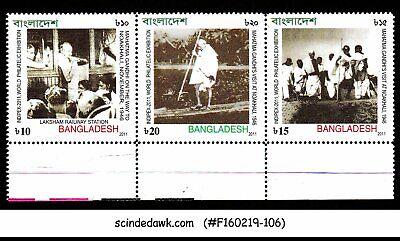 2011 Indipex-2011 Se-tenant 3v Strip Mnh As Effectively As A Fairy Does Tireless Bangladesh Mahatma Gandhi