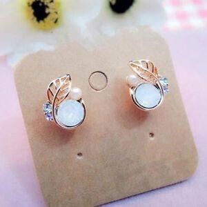 New-Small-Beauty-Lovely-Women-Jewelry-Crystal-Leaves-Stud-Earrings-Rhinestone
