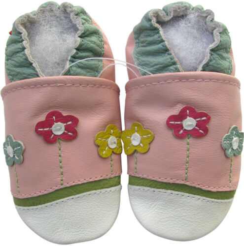 carozoo soft sole leather baby shoes little flower pink 18-24m