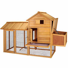 "Large 83"" Wooden Rabbit Hutch Chicken Coop Hen House Poultry Pet Cage Nest Box"