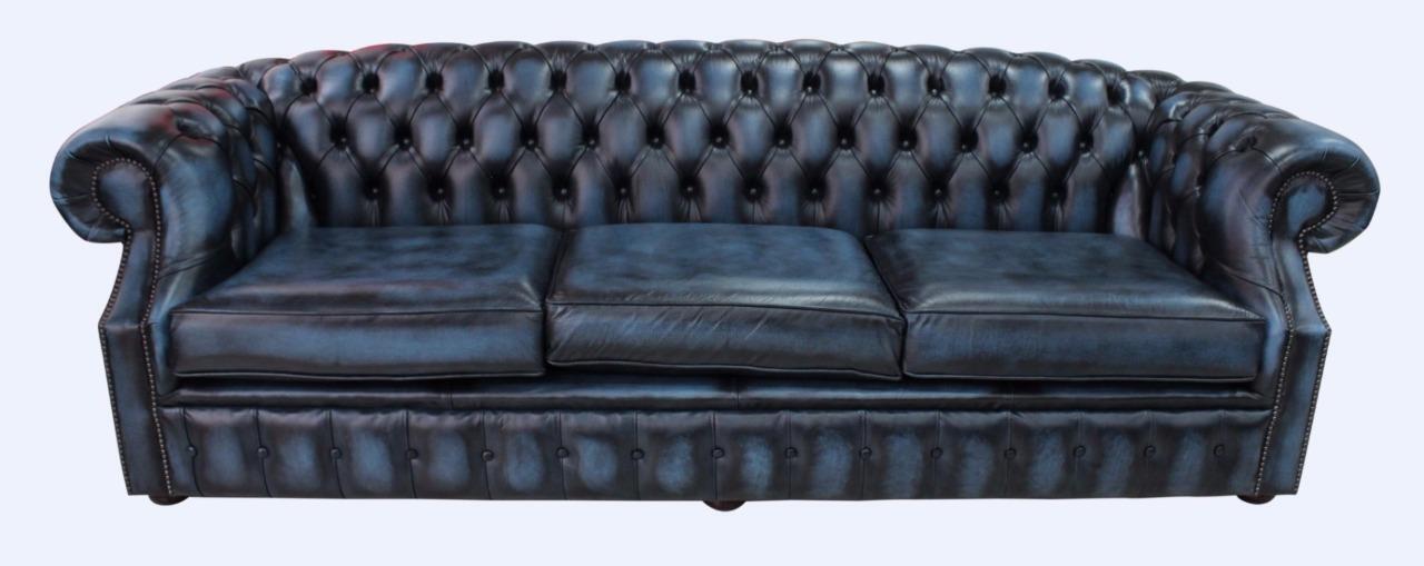 Antique Blue Leather Sofa Settee