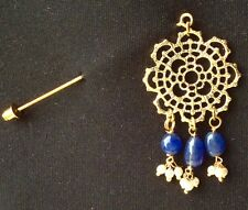 Golden Flower Filigree Design With Blue Drops Hijab Scarf On Stick Pin