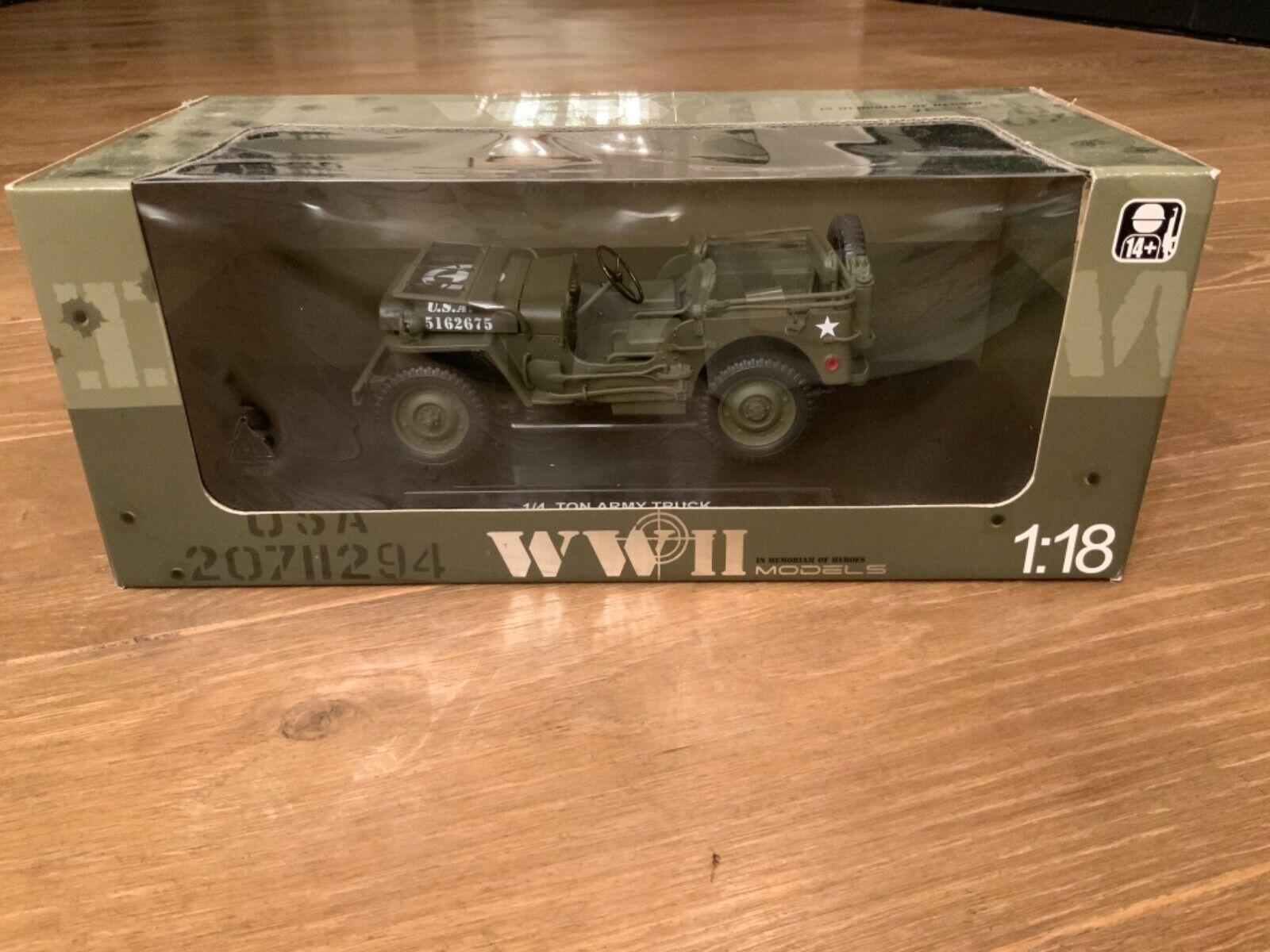 1 18 JEEP WILLYS US Army camión 1 4 Ton Modelo de Coche Segunda Guerra Mundial 1941 Welly