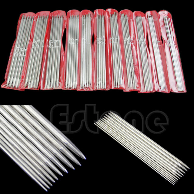 "New 11sizes 55Pcs 7.9"" 20cm Double Pointed Stainless Steel Knitting Needles Tool"