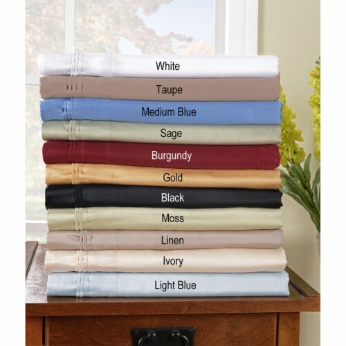 Home Bedding Collection 1000TC Egyptian Cotton Full Size Solid Colors
