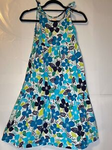 Gymboree-Girl-039-s-Blue-White-amp-Green-Print-Dress-With-Shoulder-Ties-Size-M-7-8