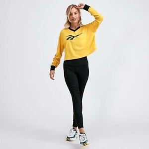 Haut femme Reebok classique à manches longues Boxy Crop T-Shirt Retro 90 S Jaune/Noir LARGE