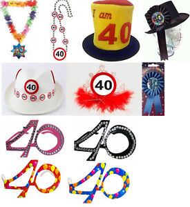 Image Is Loading 40th Birthday Accessories Hats Rosettes And Glasses For